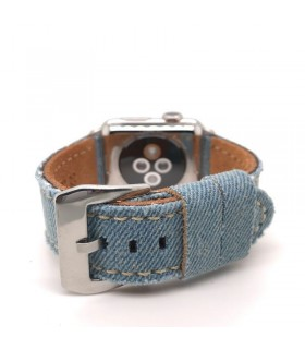 Correa Apple Watch de tela de jean azul lavado mod 390